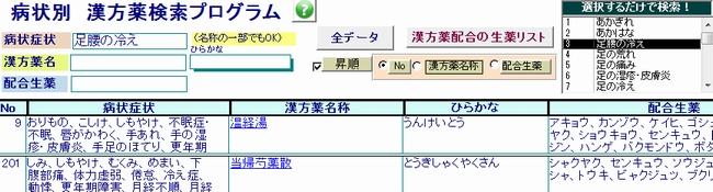 漢方薬の症状別検索プログラム